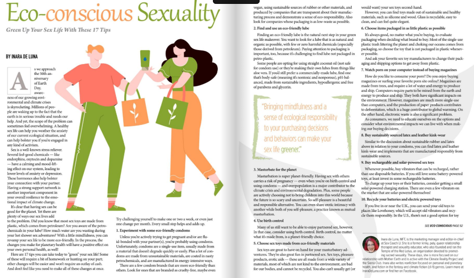 A magazine article about eco-conscious sexuality
