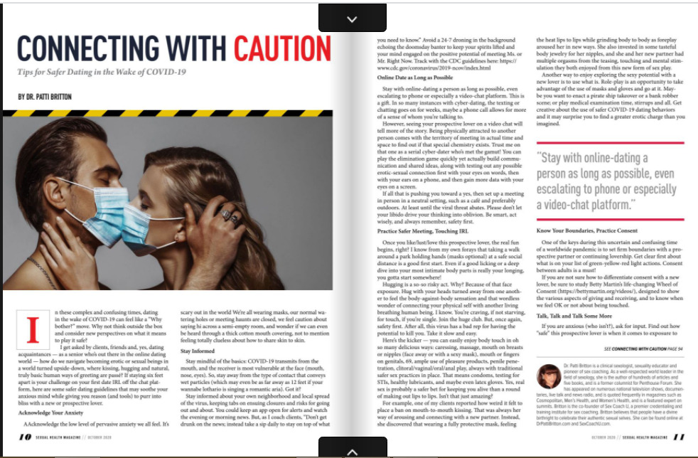 a screenshot of a publication in the october 2020 issue of sexual health expo magazine