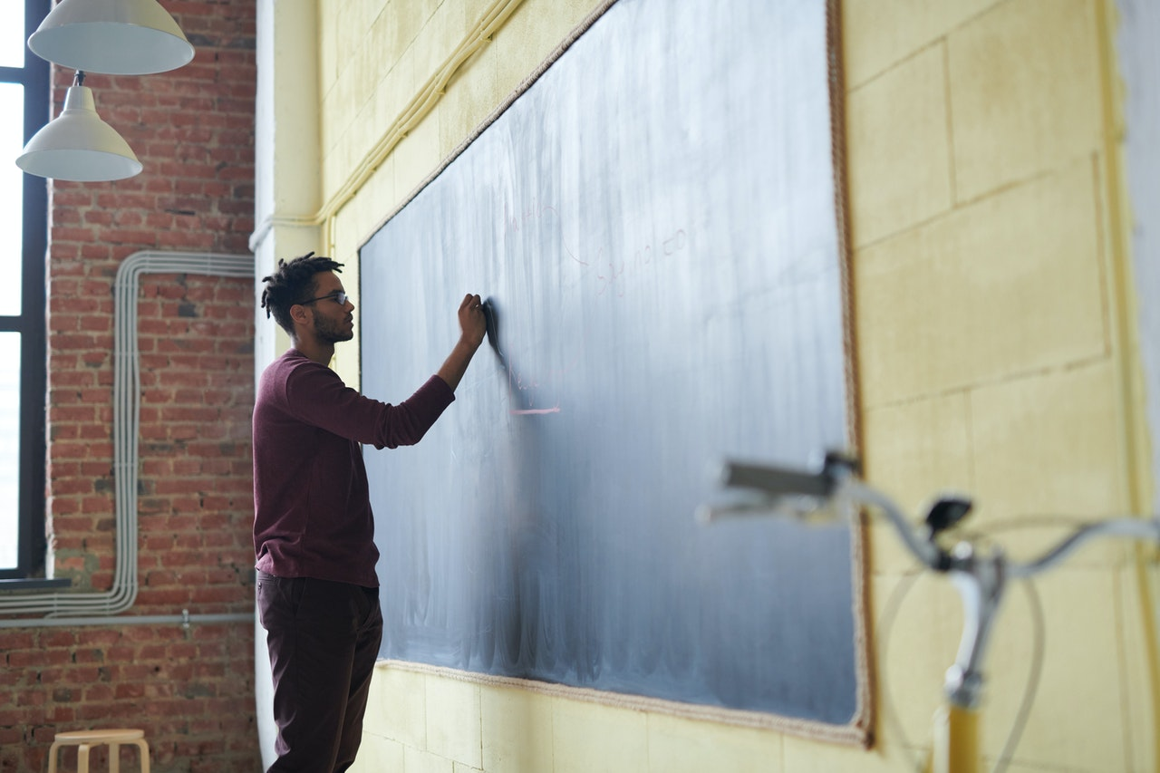 a man standing at a chalkboard working on the basics of creating a workshop