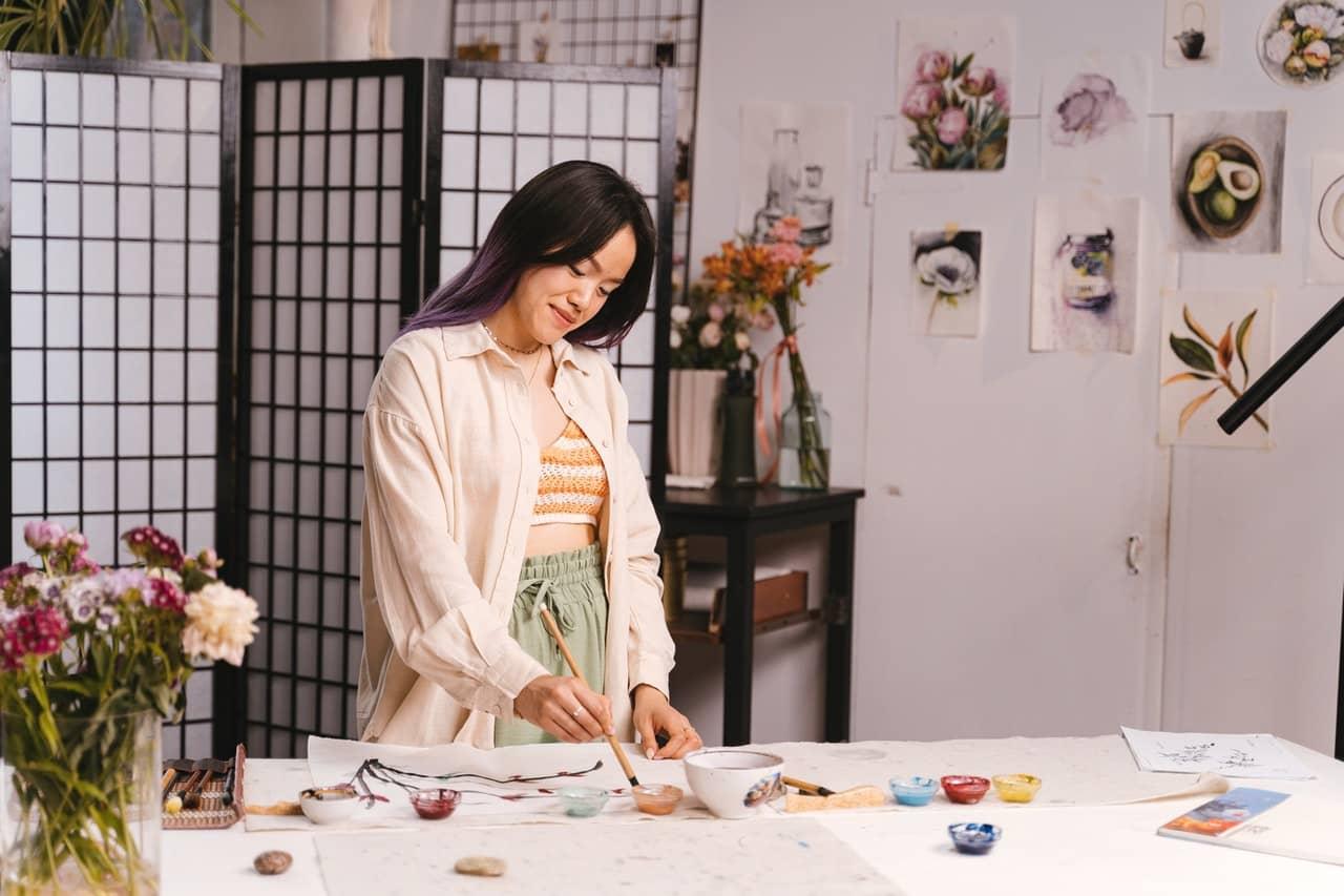 A creative Libra in her art room